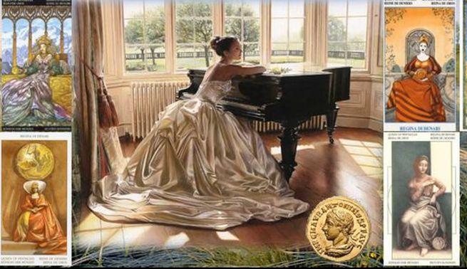 Королева Пентаклей таро указывает на верность